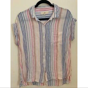Striped White Pastel Button Down w/ Pocket M